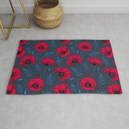 Red poppies and ladybugs on dark blue Rug