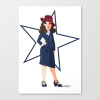agent carter Canvas Prints featuring Agent Carter by Shelby Wolf