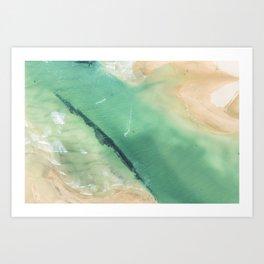 Aerial Kite Surfers, Cornwall Art Print