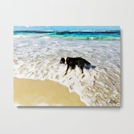 A Dog's Day at The Beach in Pastel Metal Print