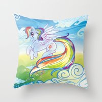 mlp Throw Pillows featuring Rainbow Dash - MLP by mmishee