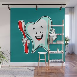 Dental Care happy Tooth with Toothbush Wall Mural
