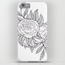 Peonies Lineart iPhone Case
