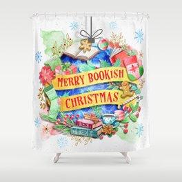 Merry Bookish Christmas Shower Curtain