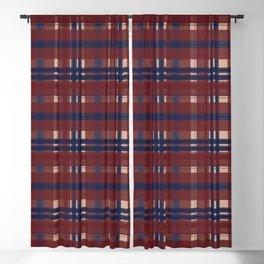 Plaid- Navy Red and Tan Blackout Curtain