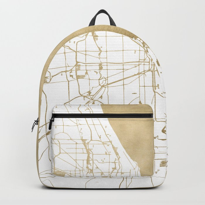 Chicago Gold and White Map Backpack