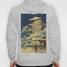Japanese Woodblock Print Vintage Asian Art Colorful woodblock prints Shrine At Night Snow White Hoody