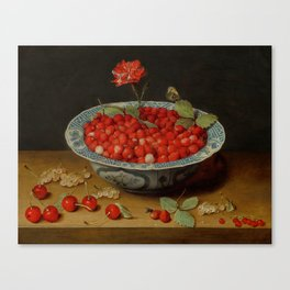 "Jacob van Hulsdonck ""Wild Strawberries and a Carnation in a Wan-Li Bowl"" Canvas Print"