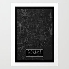 Dallas Map - Black and White (Dark) Art Print