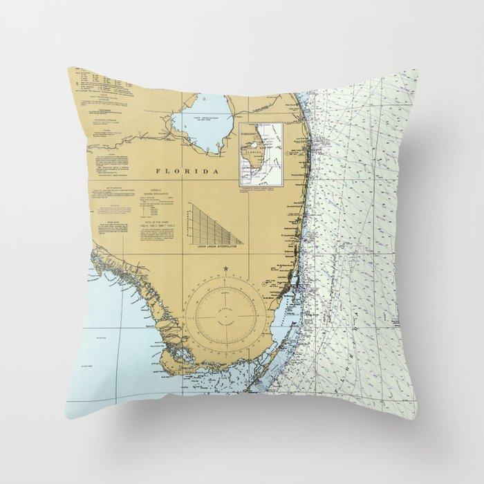 Florida Atlantic Coast Map (1982) Throw Pillow by bravuramedia