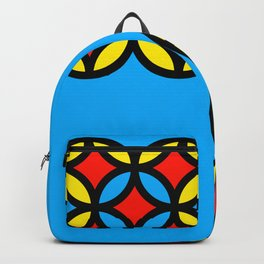 Colored Circles on Light Blue Board Backpack