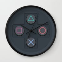 playstation Wall Clocks featuring PlayStation - Buttons by dudsbessa