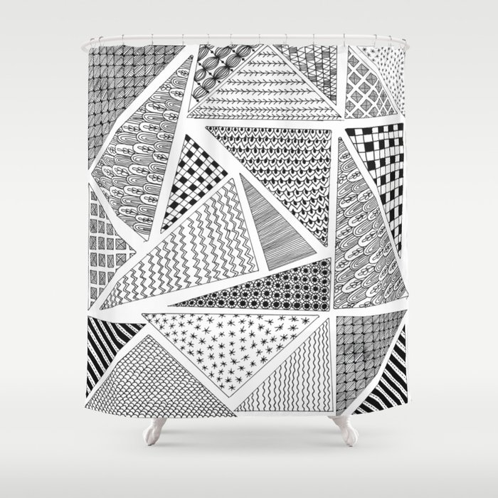 Triangle Zentagle Pattern Shower Curtain