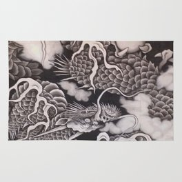 Cool traditional Japanese Dragon Texture Rug