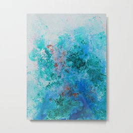 Spring Floral #7 - Blue Abstract Print Metal Print