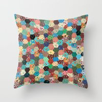 quilt Throw Pillows featuring Quilt by Tye Cottage Shop