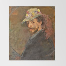 Self-portrait with flowered hat - James Sidney Edouard Baron Ensor Throw Blanket