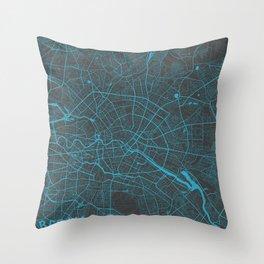 Berlin Map blue Throw Pillow