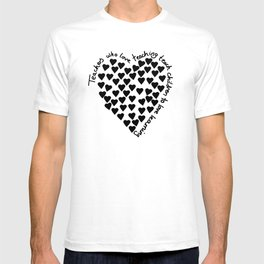 Hearts Heart Teacher Black on White T-shirt