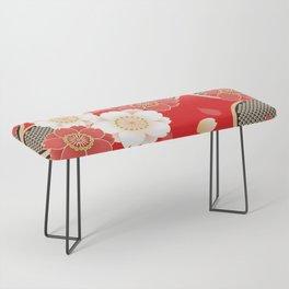 Japanese Vintage Red Black White Floral Kimono Pattern Bench