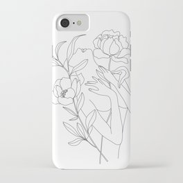 Minimal Line Art Woman with Peonies iPhone Case