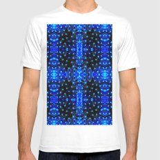 Sparkling Blue Turquoise Pattern MEDIUM Mens Fitted Tee White