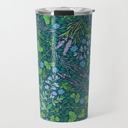 Lavender and lupine with cornflowers on herbal background Travel Mug
