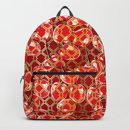 Seamless wire fence golden and red cherries pattern Backpack