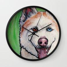 Red Siberian Husky Wall Clock