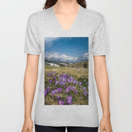 Mountains and crocus flowers on Velika Planina, Slovenia Unisex V-Neck