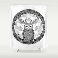 pentagram Shower Curtains featuring The Watcher by Eurimos