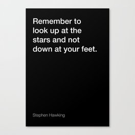 Stephen Hawking quote about stars [Black Edition] Canvas Print