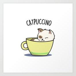 Catpuccino Cute Cappuccino Coffee Cat Pun Art Print