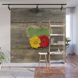 Wooden Heart with Flowers Wall Mural