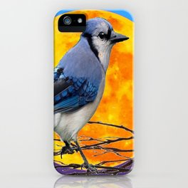 BLUE JAY & GOLDEN MOONSCAPE  ABSTRACT iPhone Case