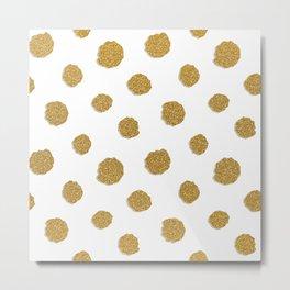 Golden touch III - Gold glitter effect polka dot pattern Metal Print