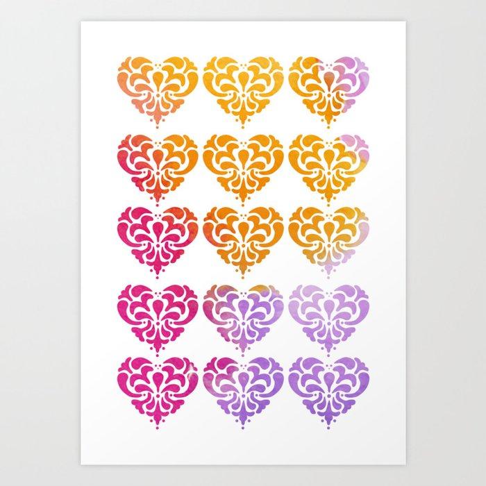 Rainbow Watercolor Damask Heart Art Print