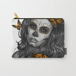 Sugar Skull Tattoo Girl with Butterflies Carry-All Pouch