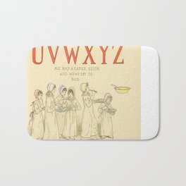 Alphabet - Children in the morning, with letter of Alphabet - Vintage Bath Mat