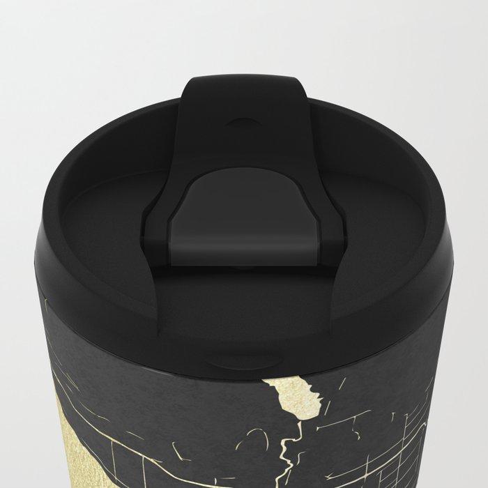 Vancouver Canada Black and Gold Map Metal Travel Mug