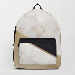 Gold Marble & Navy Backpack