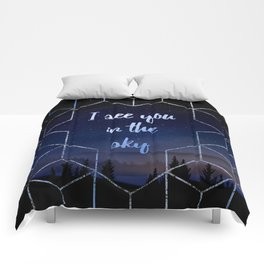 I See You In The Sky Typography Design Comforters