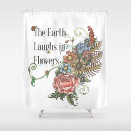 Laughing in Flowers Shower Curtain