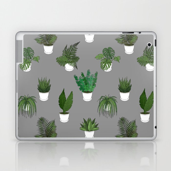 Houseplants Illustration (grey background) Laptop & iPad Skin
