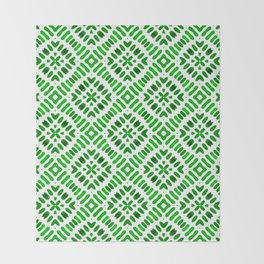 Shibori Watercolour no.7 Green Throw Blanket