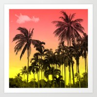 tropical Art Prints featuring palm tree  by mark ashkenazi
