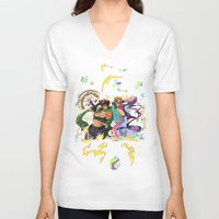 jojo V-neck T-shirts featuring JoJo & Caesar JJBA Battle Tendency by Lemonade Stand Of Life