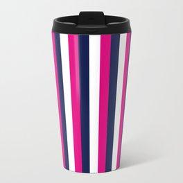 Stripes - Navy, White, Pink Travel Mug