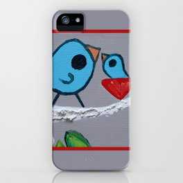 Mamma Bird - Blue on Grey iPhone Case
