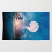 sun and moon Area & Throw Rugs featuring Moon Above, Sun Below by Viviana Gonzalez